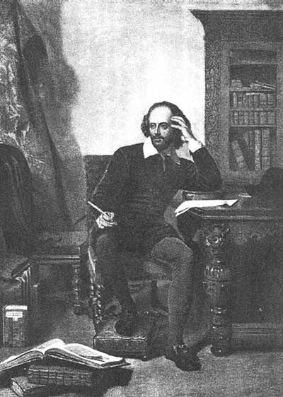 Шекспир за работой (Shakespeare in his Study). Картина Джона Фэда (Jorn Faed, 1820—1902)
